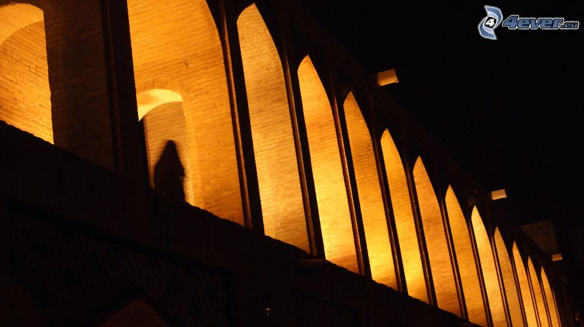 Khaju Bridge, windows, lighted bridge