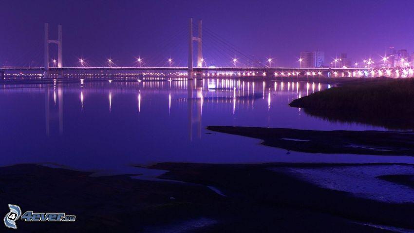 lighted bridge, night