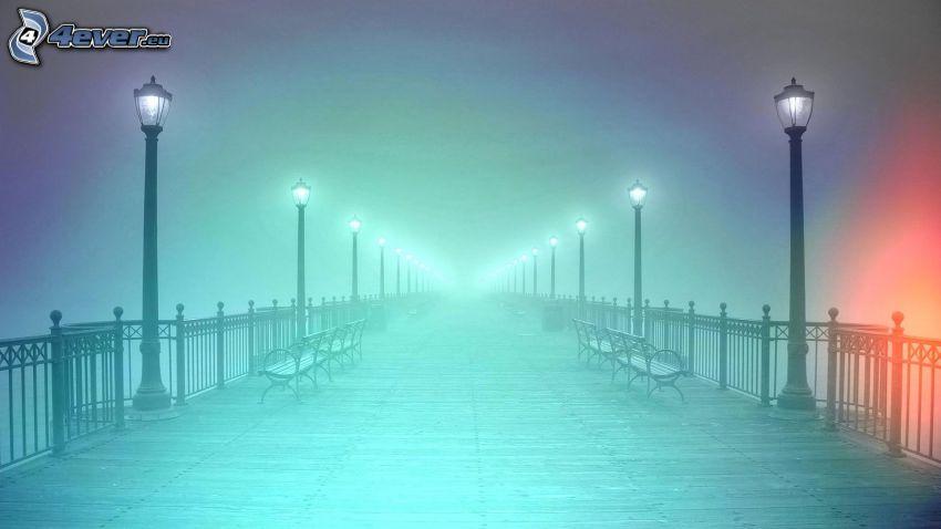 lighted bridge, street lights