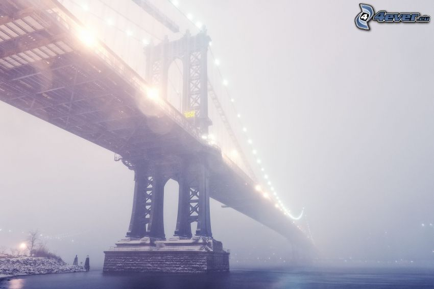 Manhattan Bridge, bridge in fog, lighted bridge