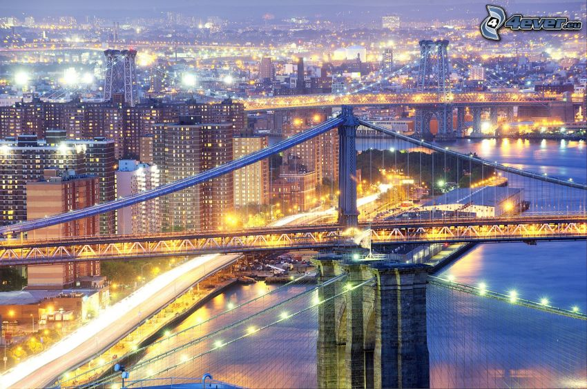 Manhattan Bridge, New York, lighted bridge, evening city, HDR