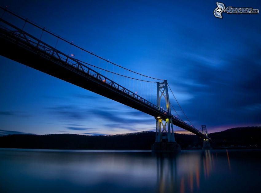 Mid-Hudson Bridge, evening, after sunset, blue sky