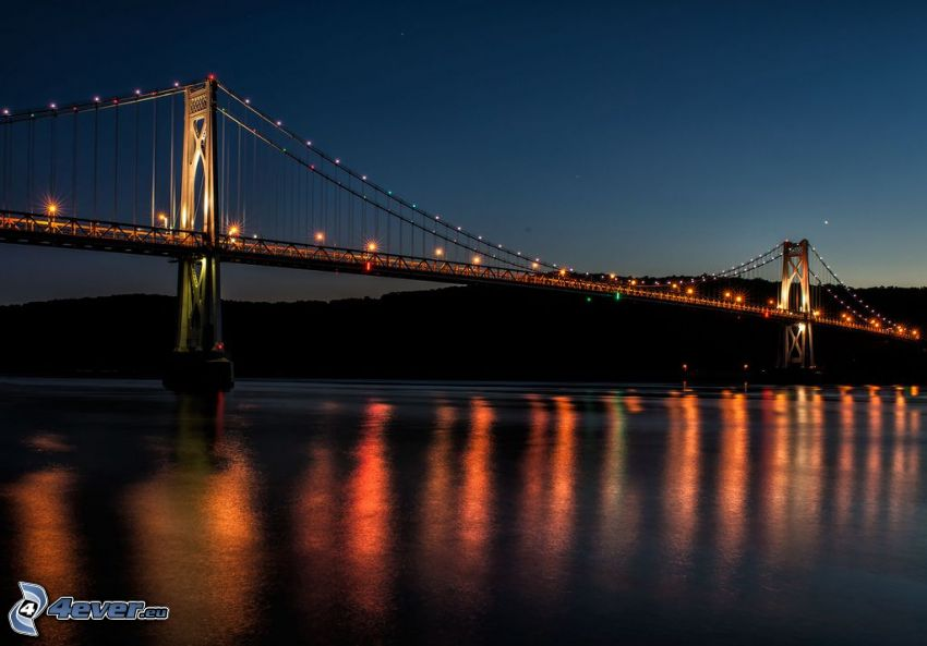 Mid-Hudson Bridge, lighted bridge, night, darkness