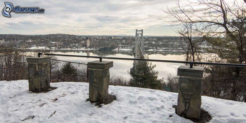 Mid-Hudson Bridge, view, snow