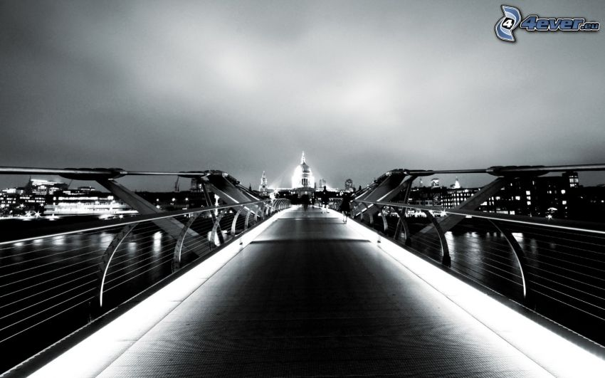 Millenium Bridge, London, England, pedestrian bridge, lighted bridge, darkness, black and white