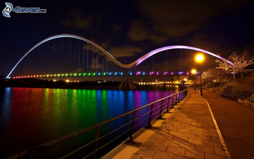modern bridge, colorful lightning, evening, River, sidewalk