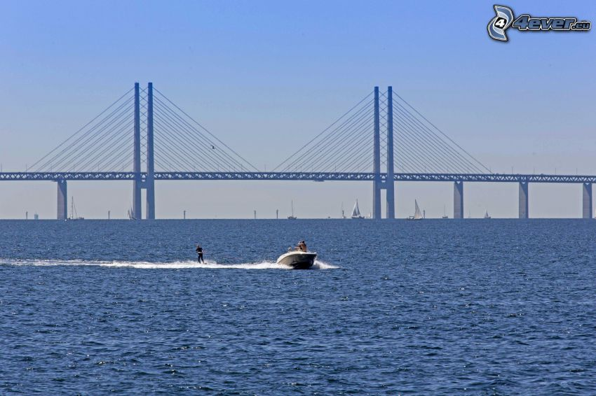 Øresund Bridge, boat, sea