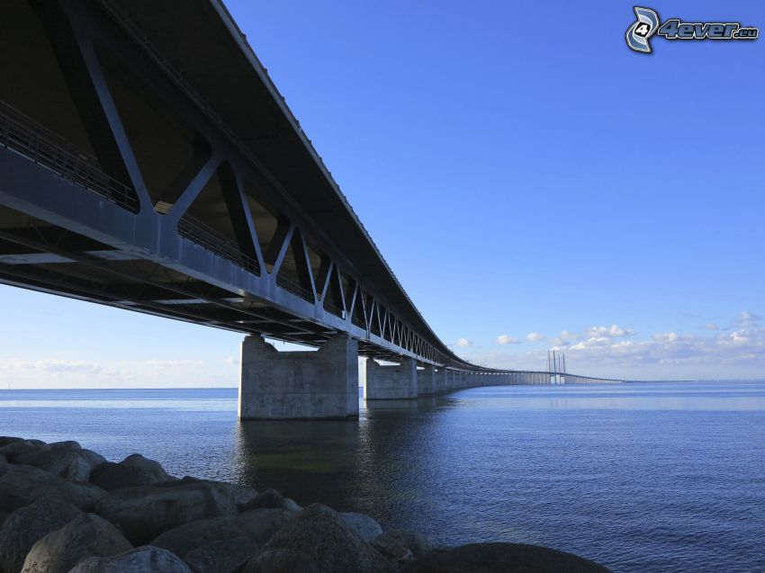 Øresund Bridge, sea, rocks