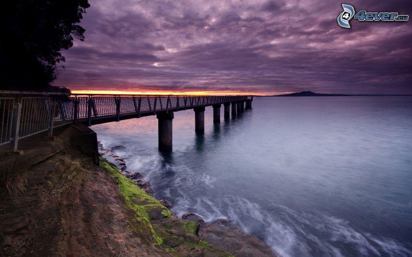 pier, pedestrian bridge, sea, sunrise, rock, clouds