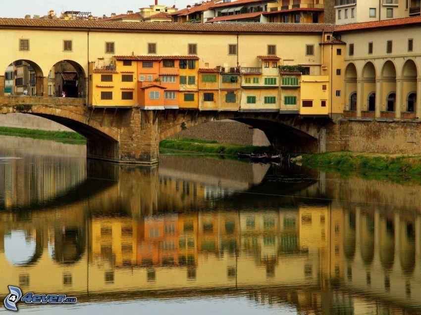 Ponte Vecchio, Florence, reflection, Arno, River, bridge