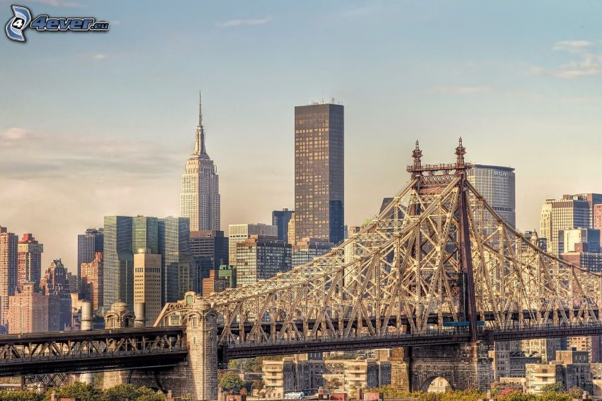 Queensboro bridge, Empire State Building, skyscrapers, New York
