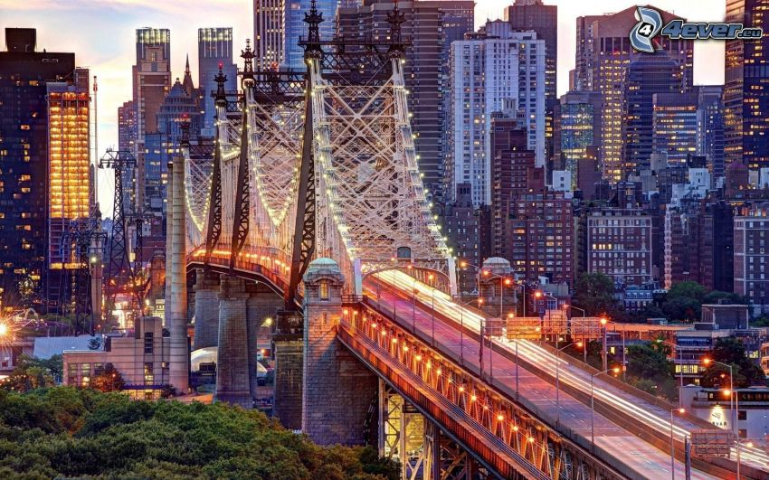 Queensboro bridge, lighted bridge, evening city, HDR