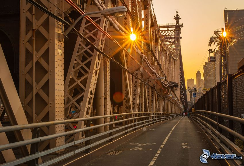Queensboro bridge, sidewalk, pathway for bikers, lights