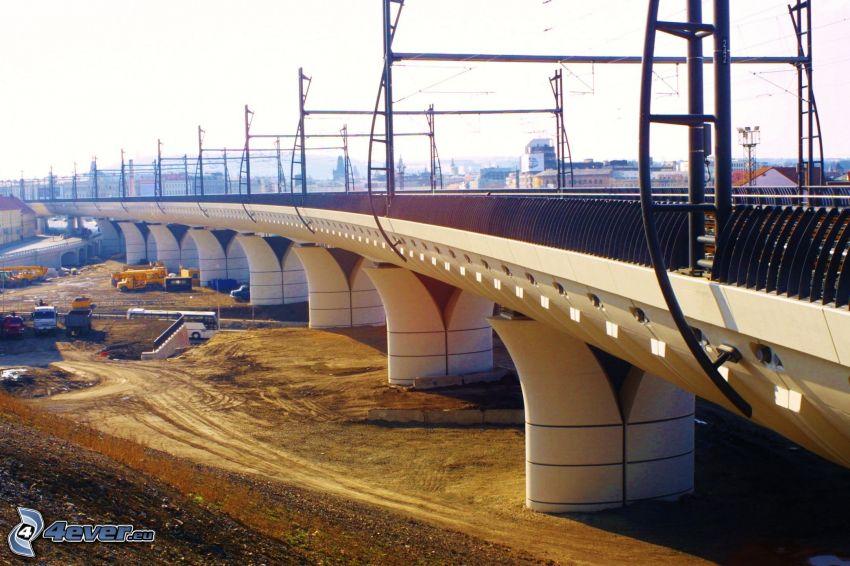 railway bridge, city, construction site