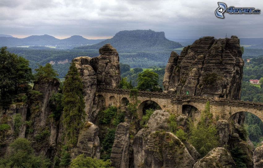Saxon, Switzerland, stone bridge, rocks