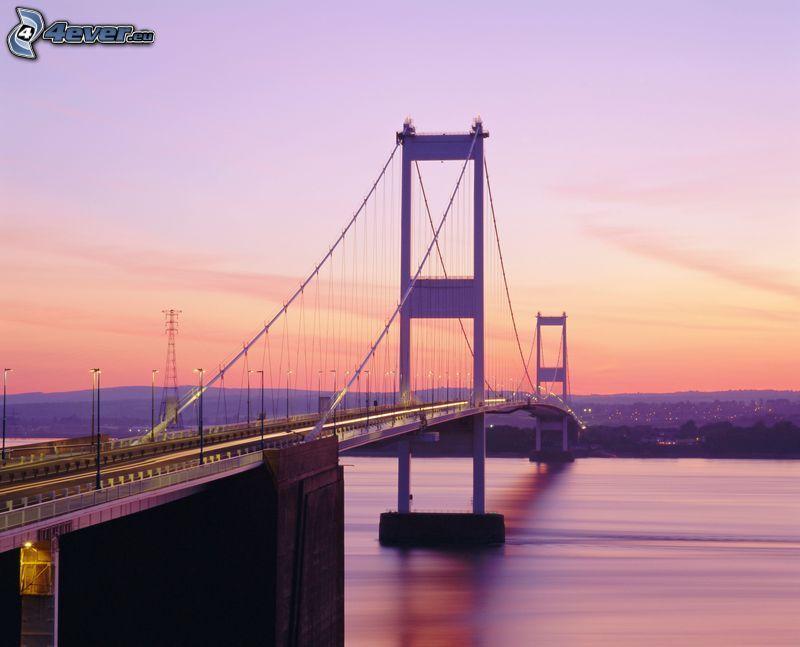 Severn Bridge, after sunset