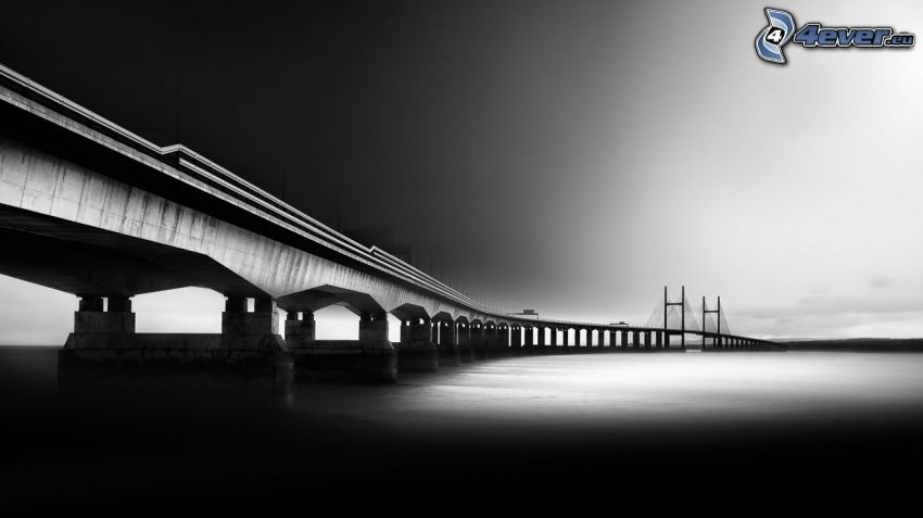 Severn Bridge, black and white photo