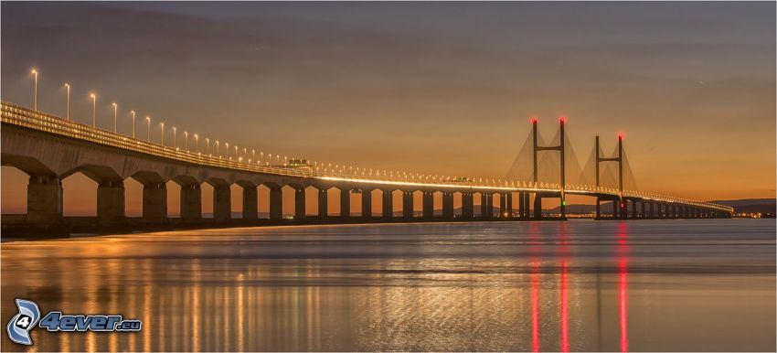 Severn Bridge, reflection, after sunset