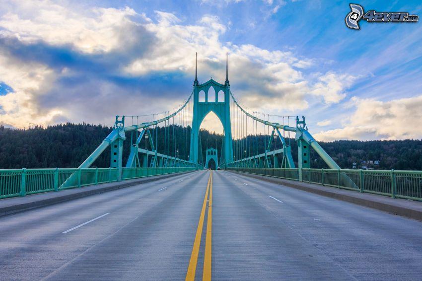 St. Johns Bridge, road, forest, clouds