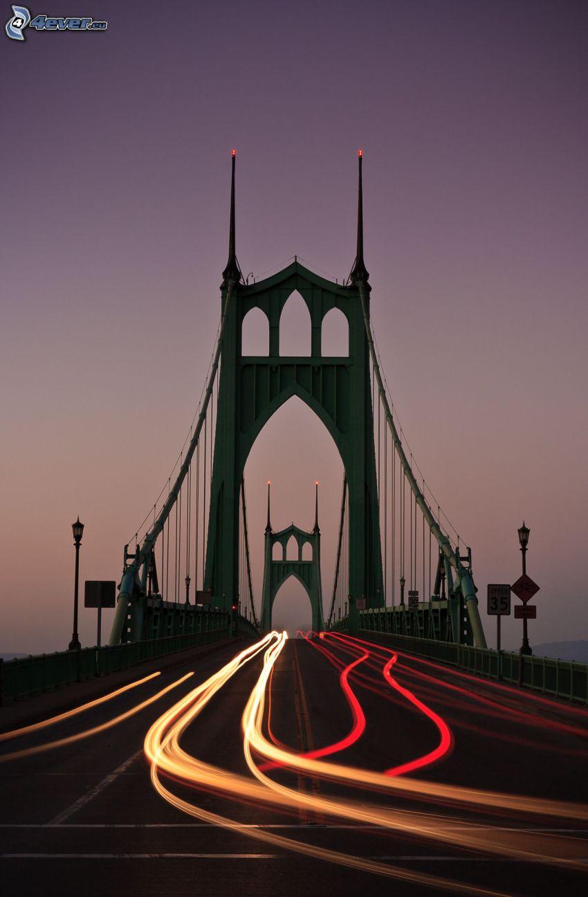 St. Johns Bridge, road, lights