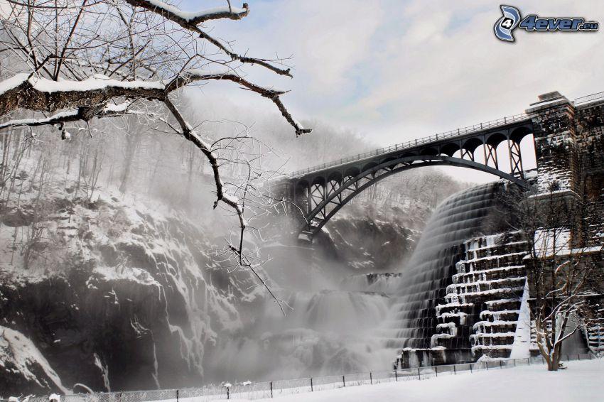 stairs, iron bridge, snowy landscape