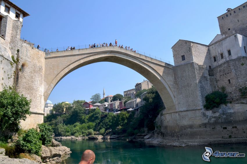 Stari Most, tourists, Neretva, Mostar