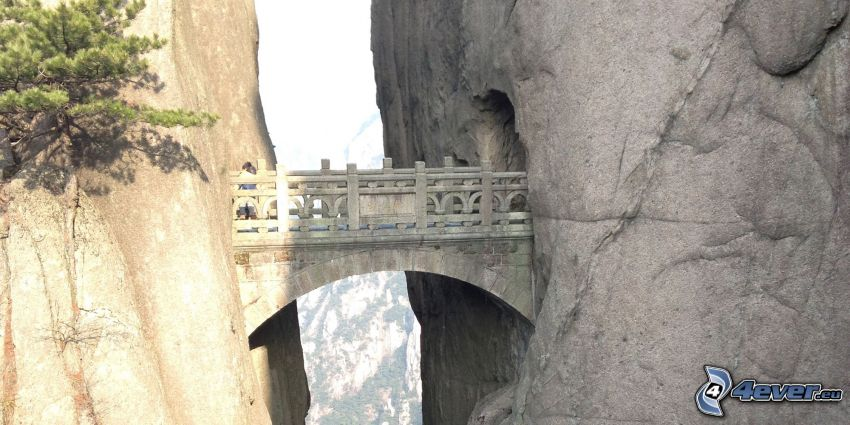 stone bridge, Huangshan, rocks