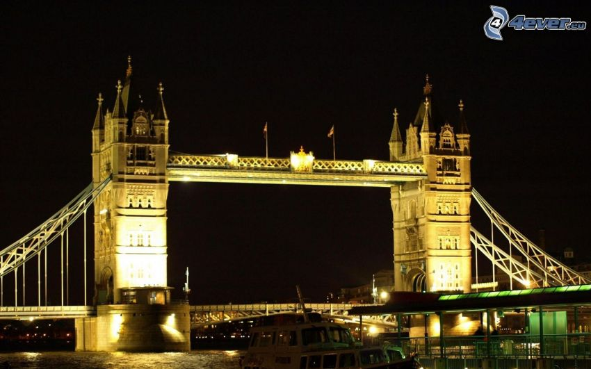 Tower Bridge, lighted bridge, night, London, England