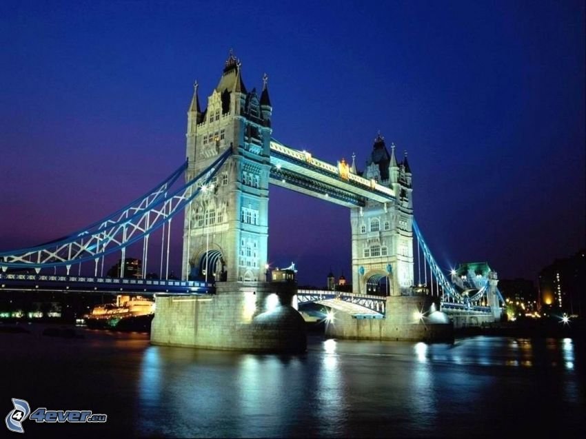 Tower Bridge, lighted bridge, night