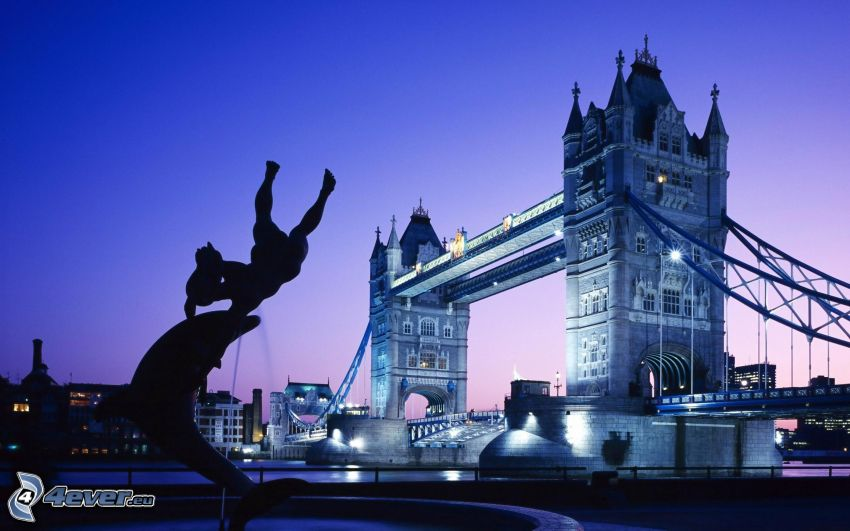 Tower Bridge, London, lighted bridge