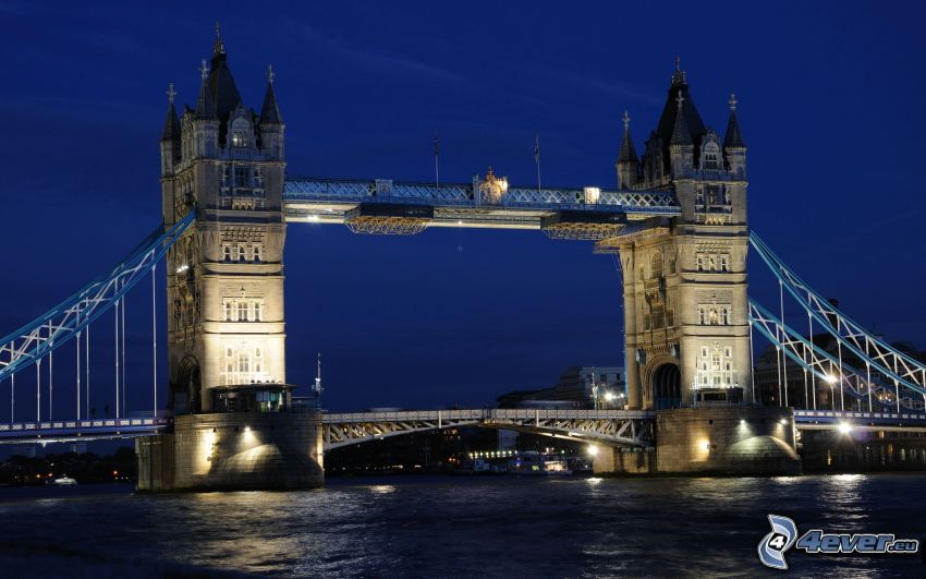 Tower Bridge, night, lighted bridge