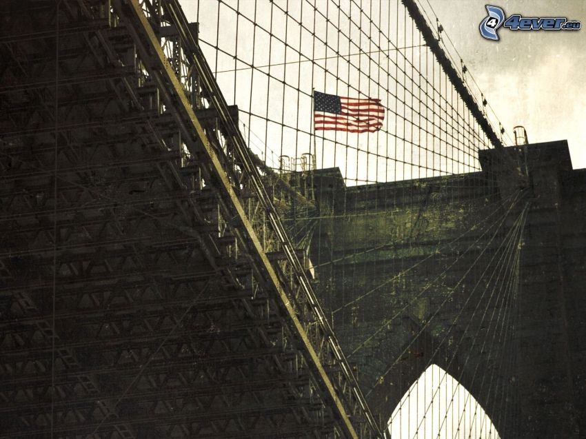 Brooklyn Bridge, New York, USA, american flag