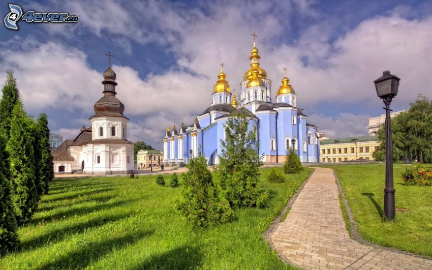 cathedral, chapel, Ukraine, sidewalk, greenery, Lamp, clouds