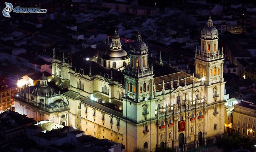 cathedral, lighting, night
