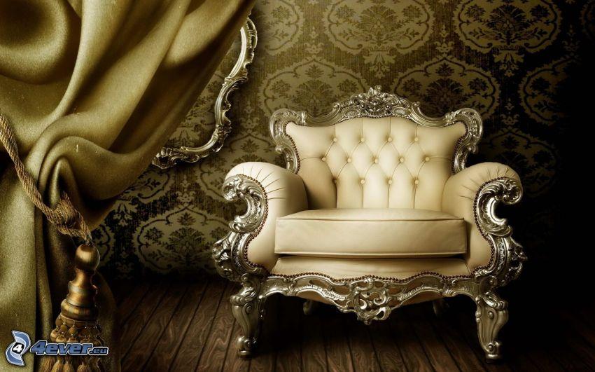chair, curtain