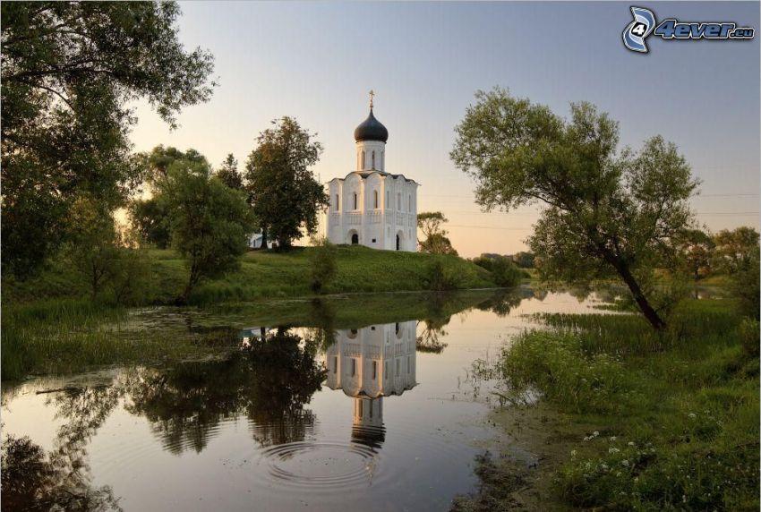 chapel, lake, trees