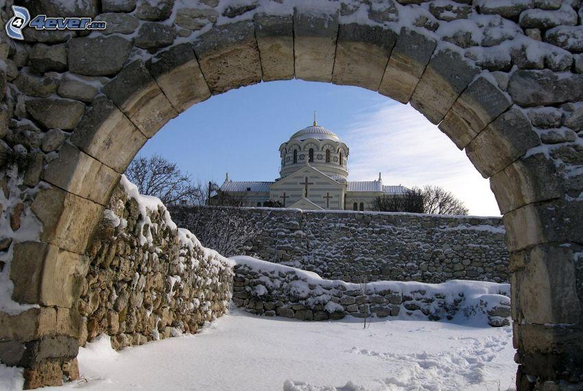 church, gate, snow