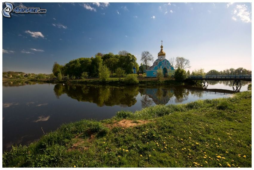 church, lake