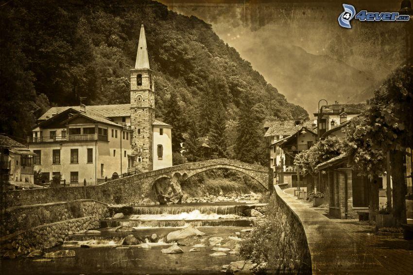 church, River, stone bridge, sepia