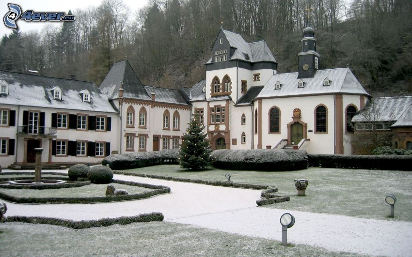 church, snow