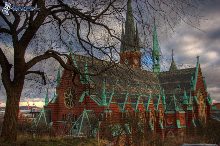 church, tree