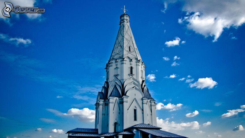 church tower, blue sky