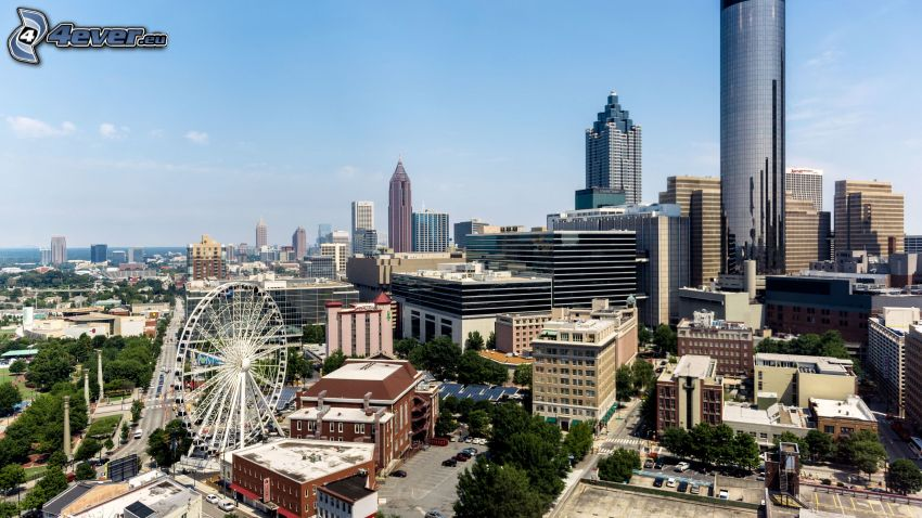 Atlanta, USA, carousel, view of the city