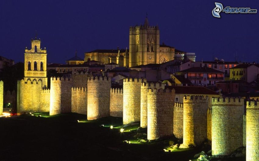 Ávila, Spain, night city, walls