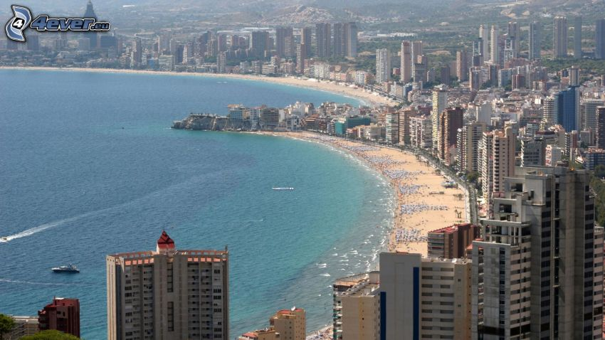 Benidorm, seaside town, skyscrapers, sandy beach