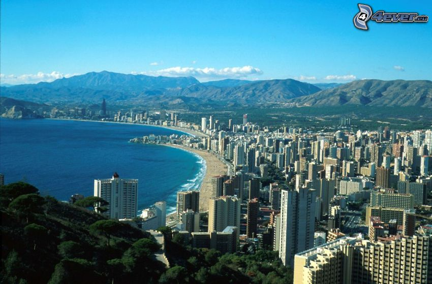 Benidorm, seaside town, skyscrapers