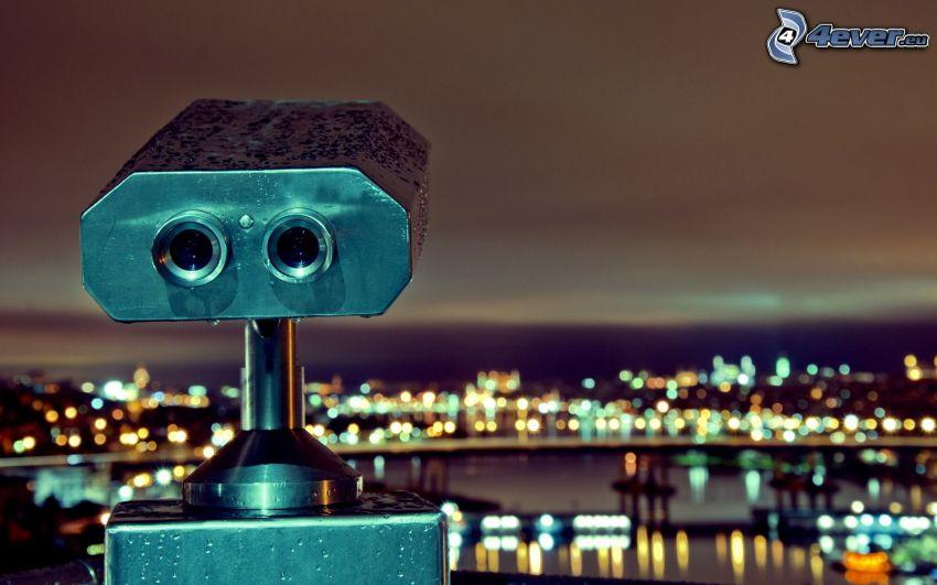 binoculars, night city