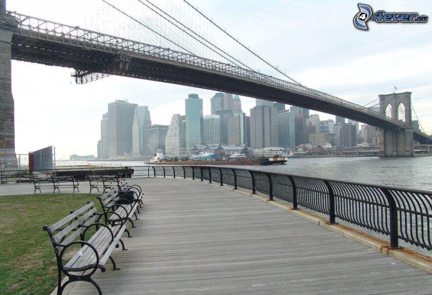 Brooklyn Bridge, bridge, benches, New York