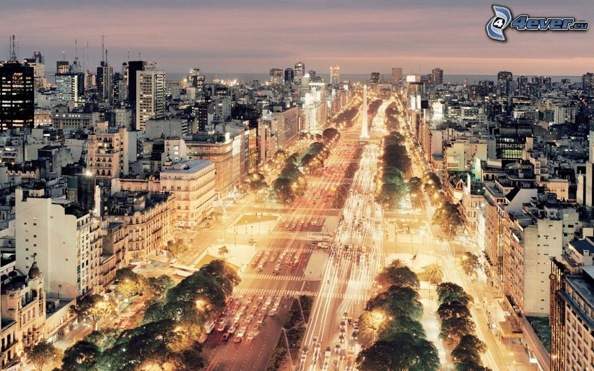 Buenos Aires, evening road, evening city