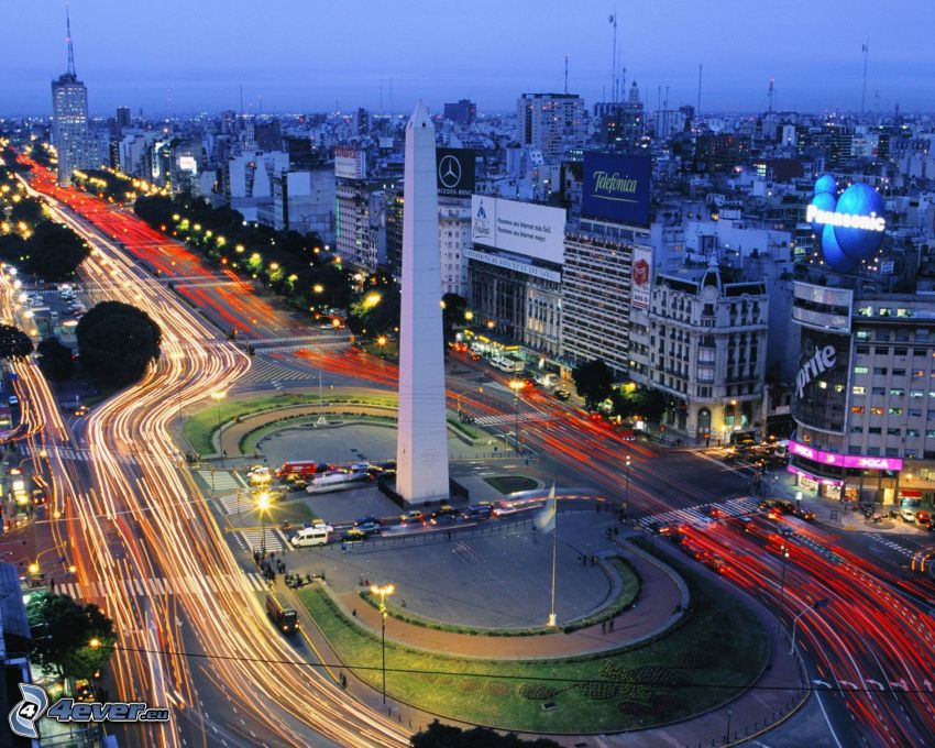 Buenos Aires, street, evening city